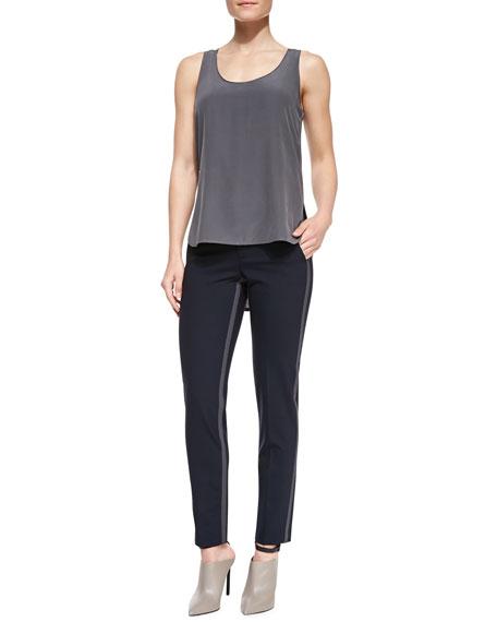 Side-Strap Straight-Leg Pants, Coastal/Slate