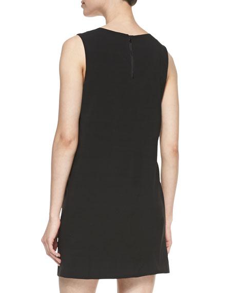 Paneled Sleeveless Leather/Ponte Dress