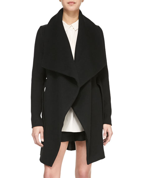 Asymmetric Car Coat with Leather Trim