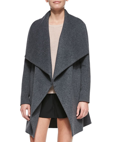 Leather-Trim Asymmetric Car Coat