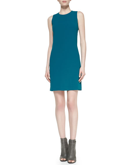 Sleeveless Jewel-Neck Crepe Dress