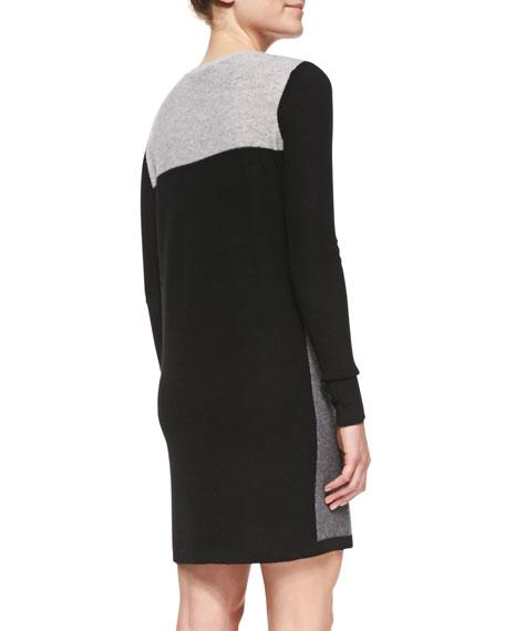 Geometric Intarsia Cashmere Long-Sleeve Sweaterdress