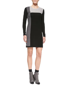 Vince Geometric Intarsia Cashmere Long-Sleeve Sweater Dress