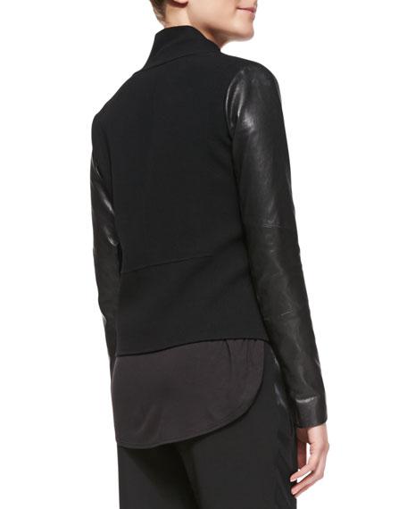 Leather-Sleeve Asymmetric Wool Biker Jacket