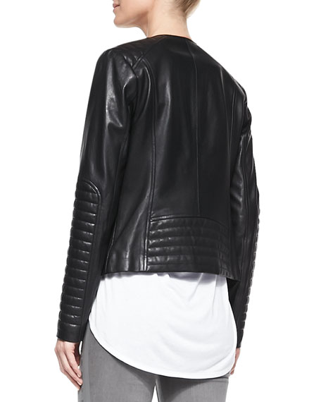 Quilted-Patch Leather Moto Jacket
