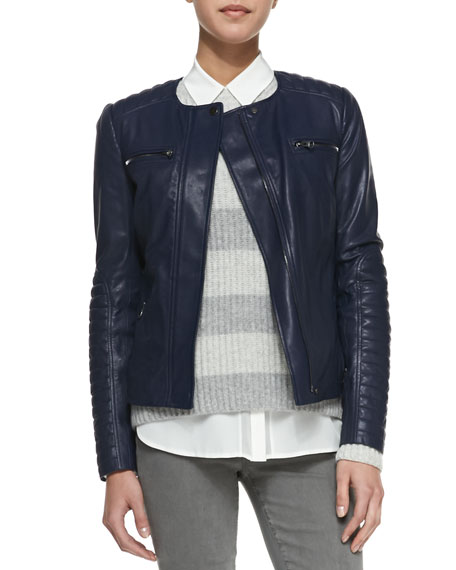 Vince Quilted-Sleeve Leather Moto Jacket