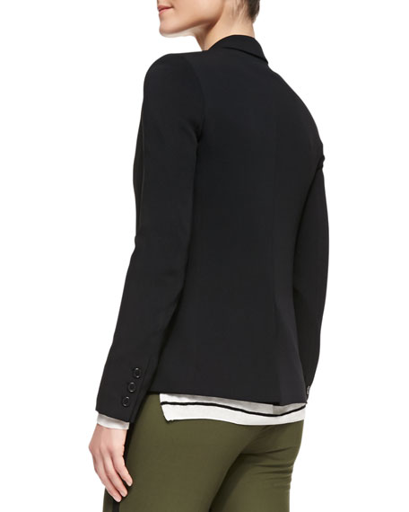 One-Button Silk Inlay Blazer, Black