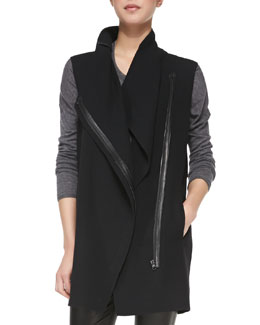 Vince Leather-Trim Asymmetric Wool Vest