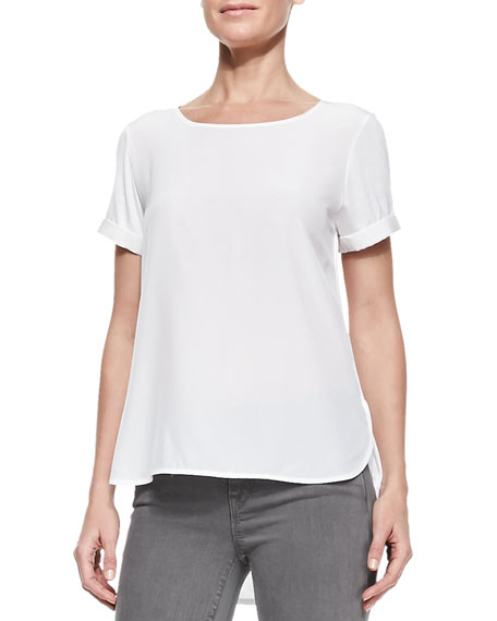 Short-Sleeve Shirttail Tee, White