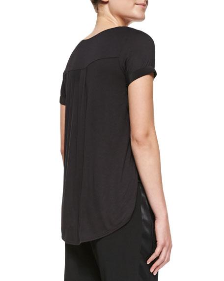 Cap-Sleeve Silk-Yoke Shirttail Tee, Black