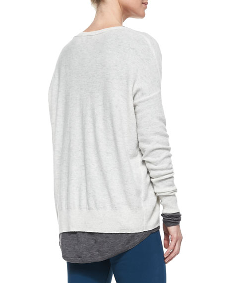 Boat-Neck Cashmere Sweater, Heather Cloud