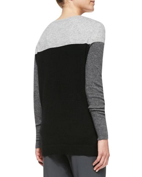 Colorblock Cashmere Crewneck Sweater