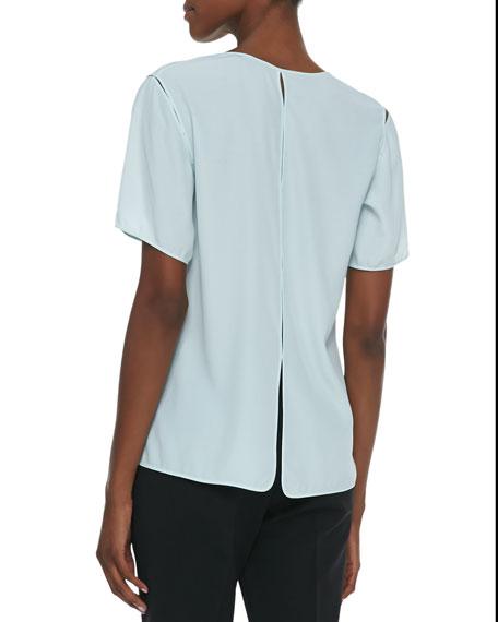 Split-Seam Crepe T-Shirt, Chlorine