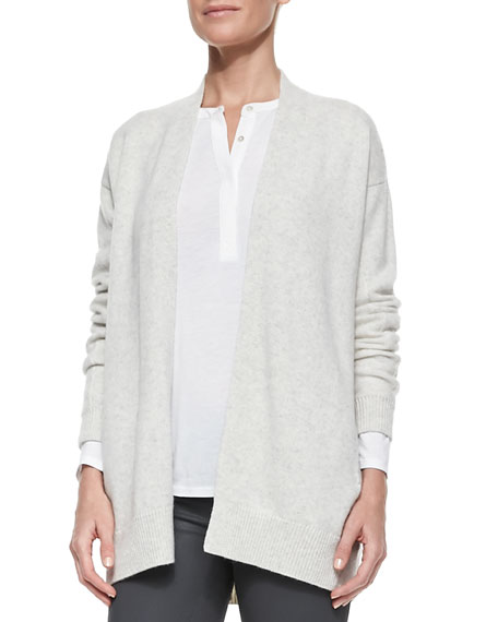 Mixed-Gauge Open-Front Cashmere Cardigan, Cloud