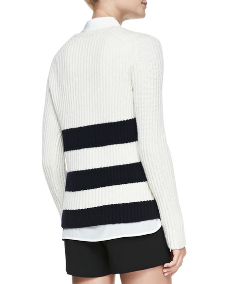 Striped Ribbed Knit Long Sweater