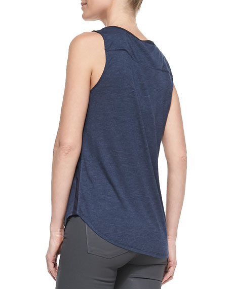 Contrast-Trim Slub Tank, Heather Coastal
