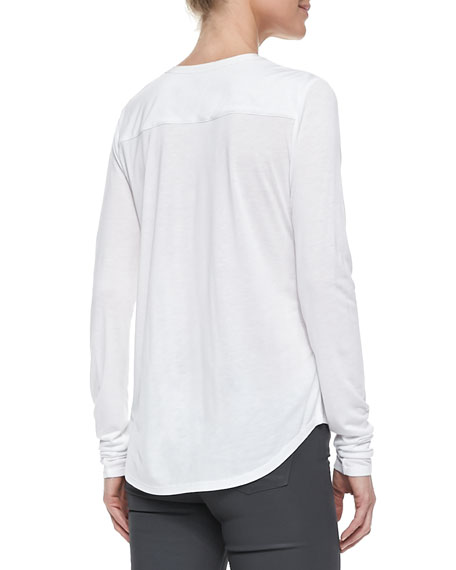 Long-Sleeve Silk-Trim Slub Henley, White