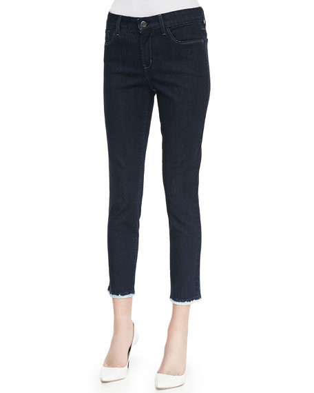Everleigh Skinny Ankle Jeans with Bleached Cuffs