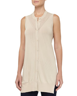 Alexander Wang Sleeveless Cardigan Tank Top, Mojave