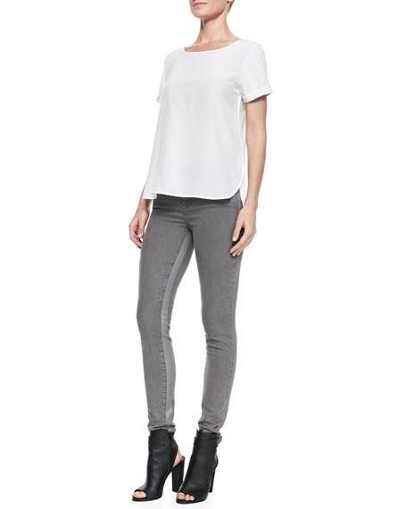 Side-Stripe Skinny Jeans, Silver Fin