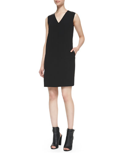 Vince Leather-Trim V-Neck Shift Dress