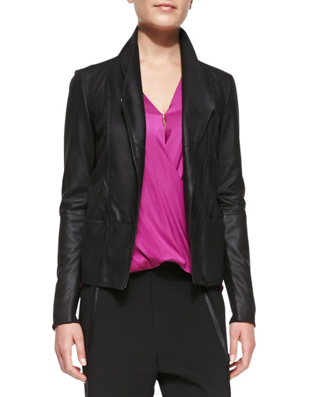 Vince On-Seam Leather Scuba Jacket