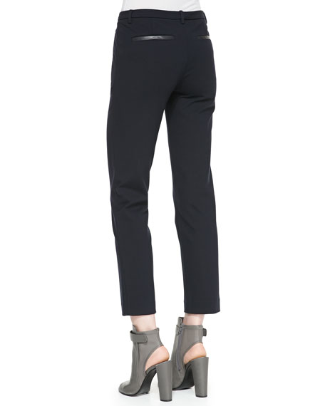 Leather-Pocket Ponte Trousers