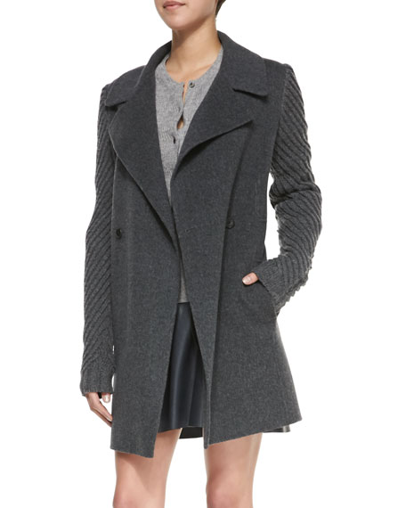 Sweater-Sleeve Felt Coat, Heather Gray