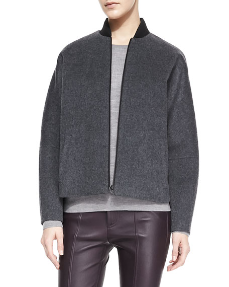 Knit-Trim Fleece Bomber Jacket