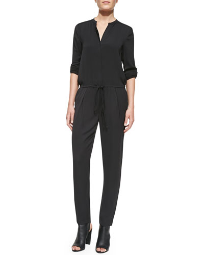 Vince Long-Sleeve Georgette Jumpsuit, Black