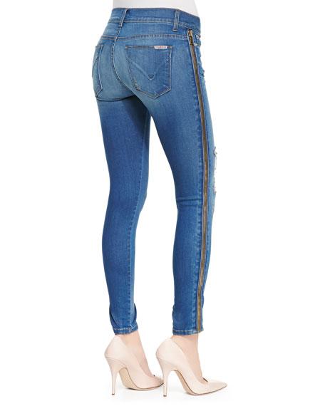 Sid Foxy Zip-Side Distressed Skinny Jeans