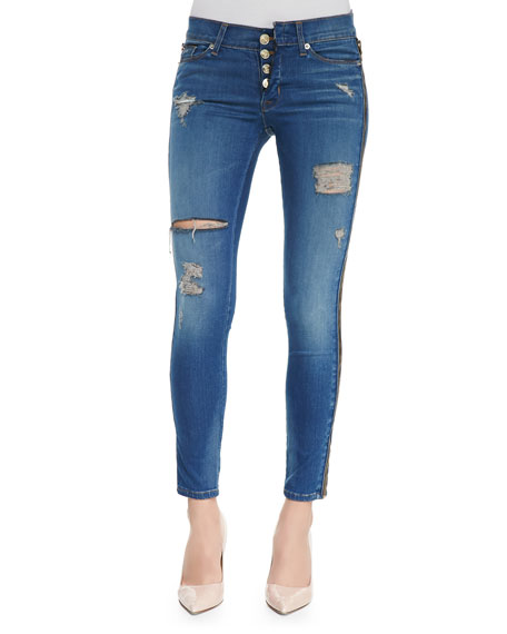 Sid Foxy Zip-Side Distressed Skinny Jeans