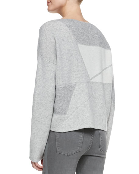 Abstract Patchwork Boat-Neck Sweater