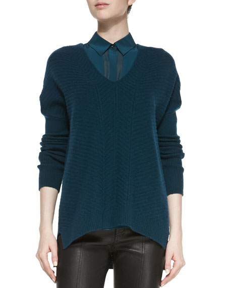 Drop-Sleeve Ribbed Knit Sweater, Twilight