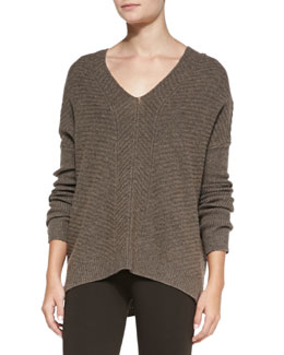 Vince Chevron Double V-Neck Sweater
