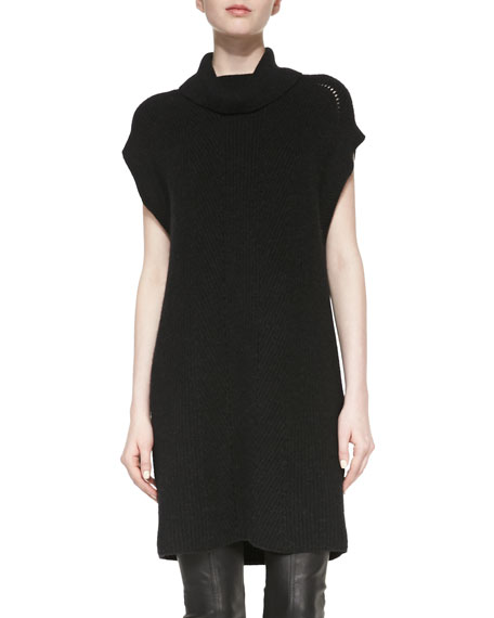 Ribbed Turtleneck Sweaterdress, Heather Black