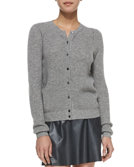 Ribbed-Knit Button-Front Cardigan