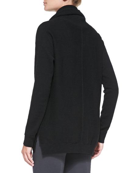 Seamed Cowl-Neck Sweater, Black