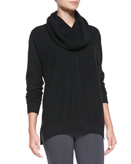 Vince Seamed Cowl-Neck Sweater, Black