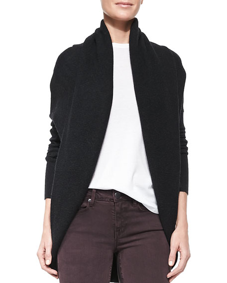 Elliptical Circle Cardigan, Heather Carbon Black