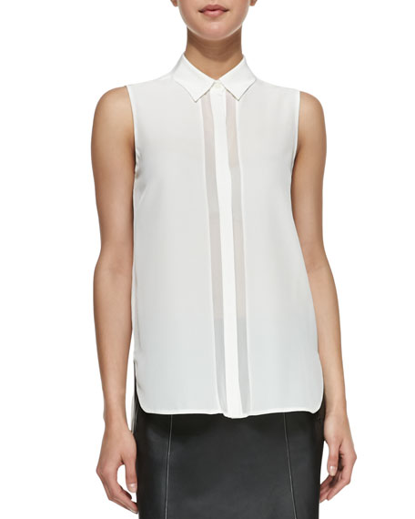 Sheer-Stripe Sleeveless Silk Blouse, White
