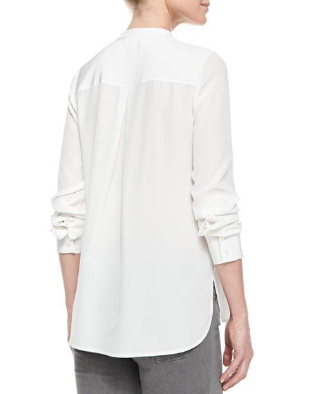 Sheer & Charmeuse Long-Sleeve Blouse, Off White