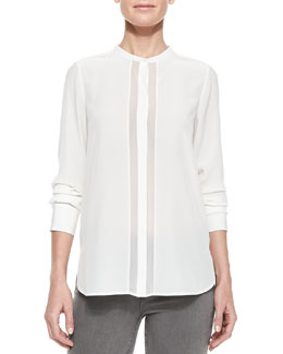Vince Sheer & Charmeuse Long-Sleeve Blouse, Off White