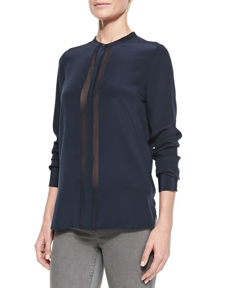 Sheer & Charmeuse Long-Sleeve Blouse, Coastal