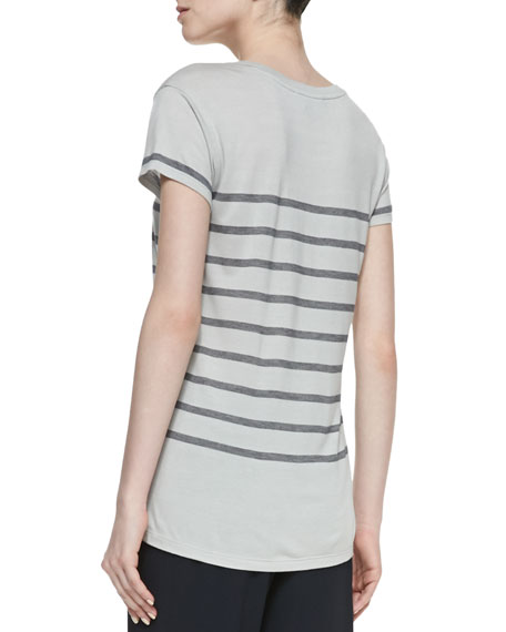 Short-Sleeve Striped Jersey Tee, Concrete/Coastal