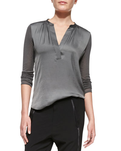 Vince Satin-Front Loose Jersey Top,  Slate
