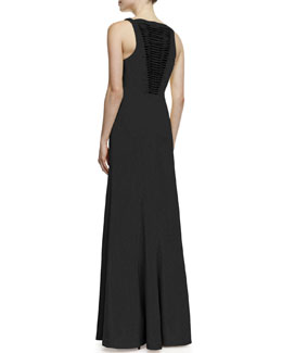 Robert Rodriguez Vertebrae B Woven-Panel Sleeveless Gown, Black