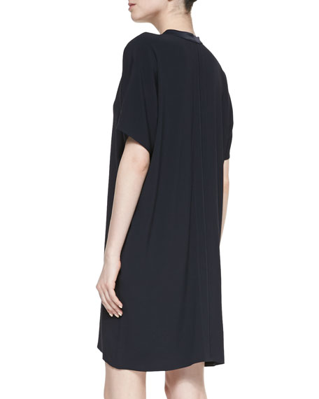 Split-Neck Short-Sleeve Dress