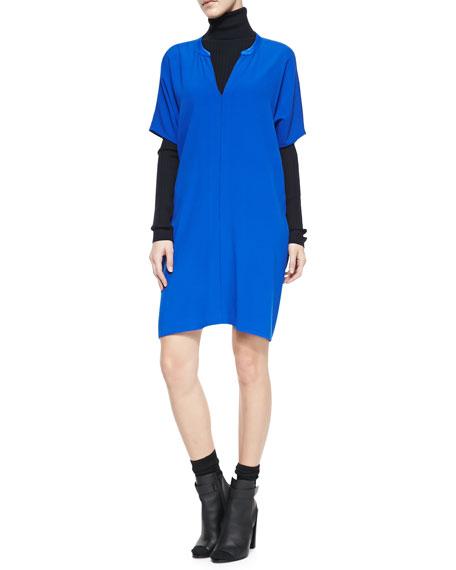 Jersey Short-Sleeve V-Neck Dress