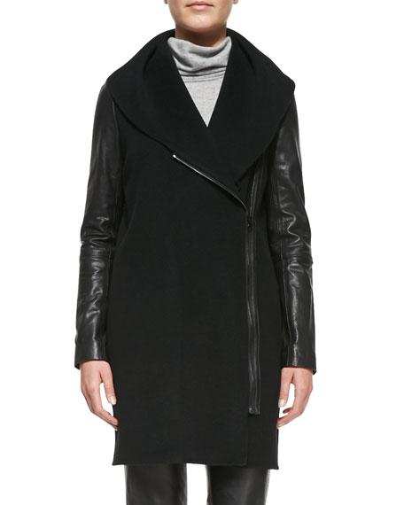 Leather-Sleeve Shawl-Collar Coat, Black